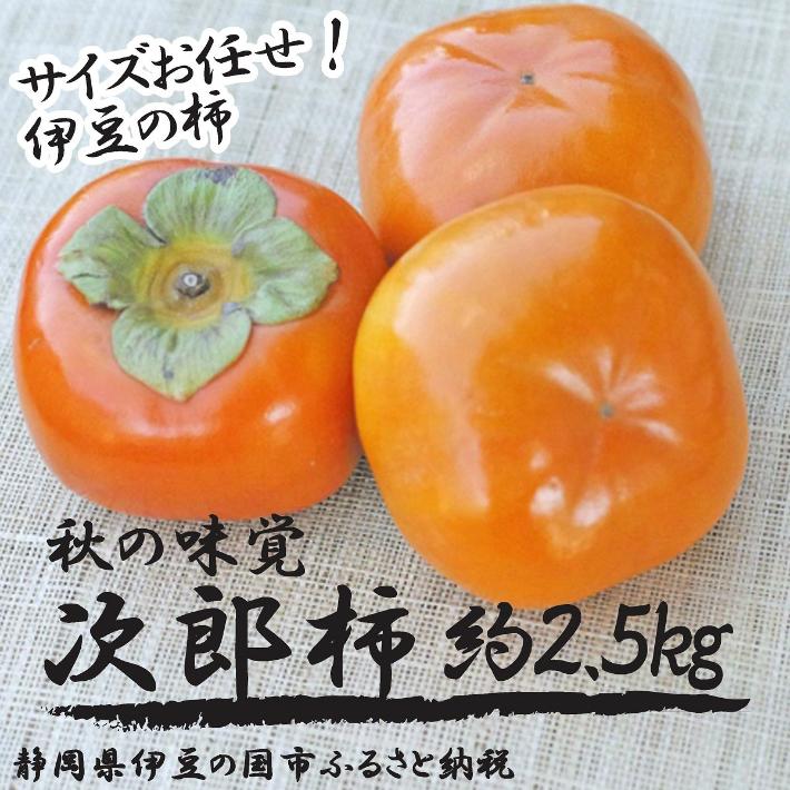 【ふるさと納税】010-012 秋の味覚!伊豆の柿「次郎」(サイズお任せ約2.5kg)