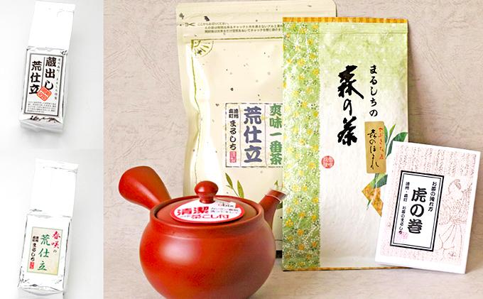 【ふるさと納税】遠州森町 煎茶と荒仕立茶、急須セット 【飲料類/お茶類】