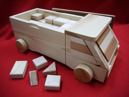 【ふるさと納税】数量限定5個【熊野杉のトラック型積み木シンプルデザインお値打ち品】58P