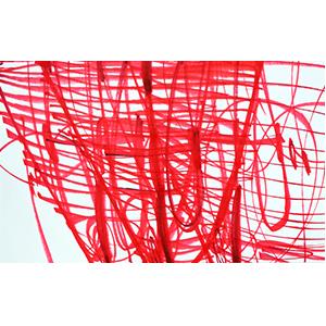 【ふるさと納税】アール・ブリュット作品(絵画)<br>『注射ガンバロウネ (木村茜作)』〔赤色〕 【インテリア】