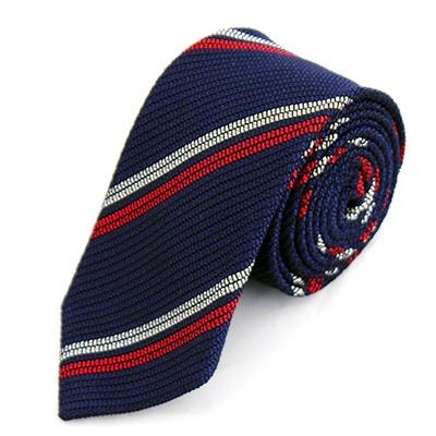 【ふるさと納税】KUSKA Fresco 2Line Tie 【ネイビー&レッド】 世界でも稀な手織りネクタイ【1099803】
