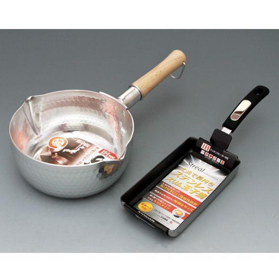 【ふるさと納税】IH対応ストリール玉子焼スリム+IH対応ゆきひら鍋 18cm