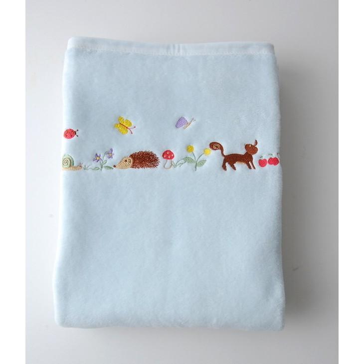 【ふるさと納税】ベビー&キッズの綿毛布 ハリネズミ刺繍 ブルー シンプル