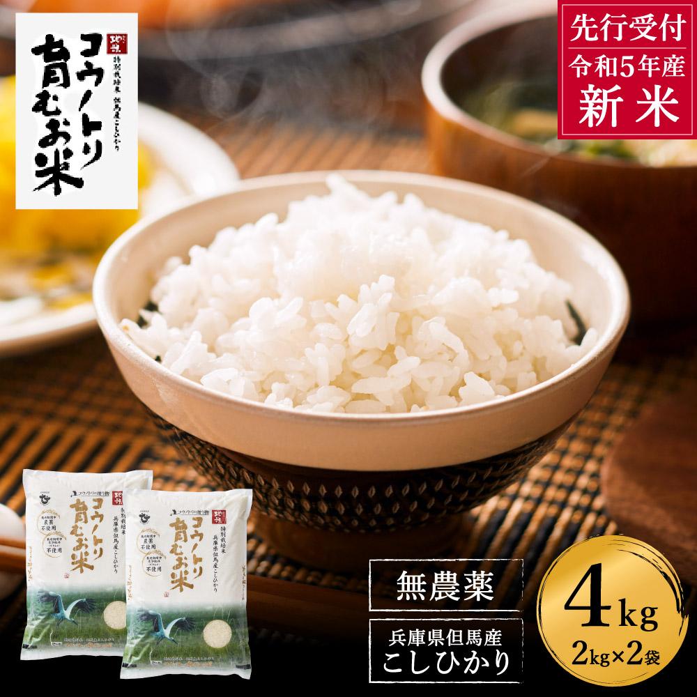 【ふるさと納税】コウノトリ育むお米無農薬(2kg×2袋)(94-001)