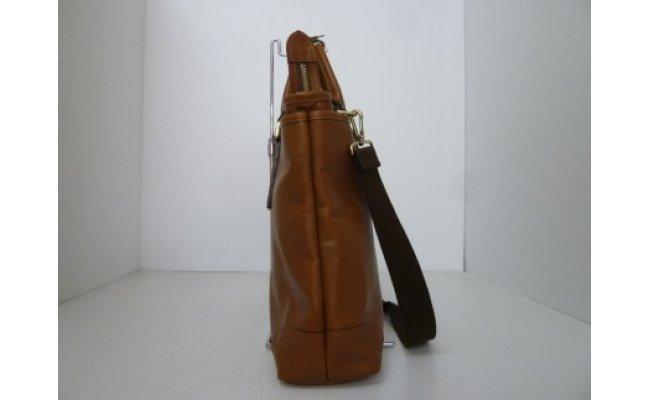【ふるさと納税】豊岡鞄 皮革横型手提げ(ブラウン)