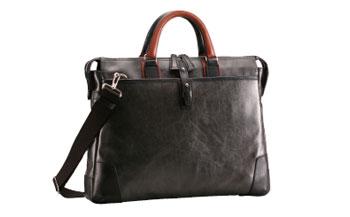 【ふるさと納税】豊岡鞄 帆布PU×皮革ソフトブリーフ(24-110)ブラック