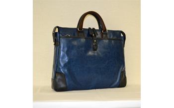 【ふるさと納税】豊岡鞄 帆布PU×皮革ソフトブリーフ(24-110)ブルー / カバン かばん ビジネスバック
