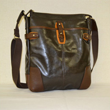 【ふるさと納税】豊岡鞄 帆布PU×皮革ショルダー(24-129)チョコ