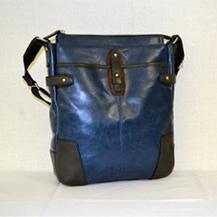 【ふるさと納税】豊岡鞄 帆布PU×皮革ショルダー(24-133)ブルー