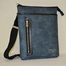 【ふるさと納税】豊岡産合皮タテ型ショルダーBS-5327(08-093)ブルー
