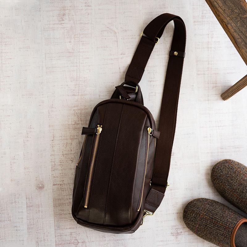 【ふるさと納税】豊岡鞄 皮革ワンショルダー(チョコ) / カバン かばん バック