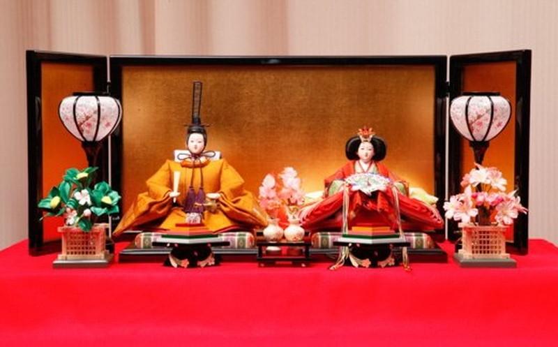 【ふるさと納税】雛人形 親王飾り 黄呂染