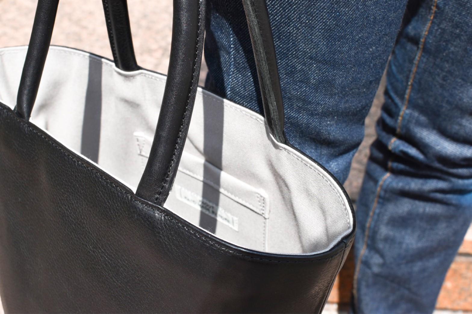 【ふるさと納税】鞄職人が手掛ける【バケツバッグ】ブラック×グレー