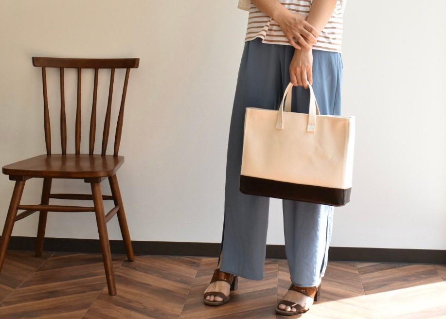 【ふるさと納税】鞄職人が手掛ける【マガジントート ワイド】きなり