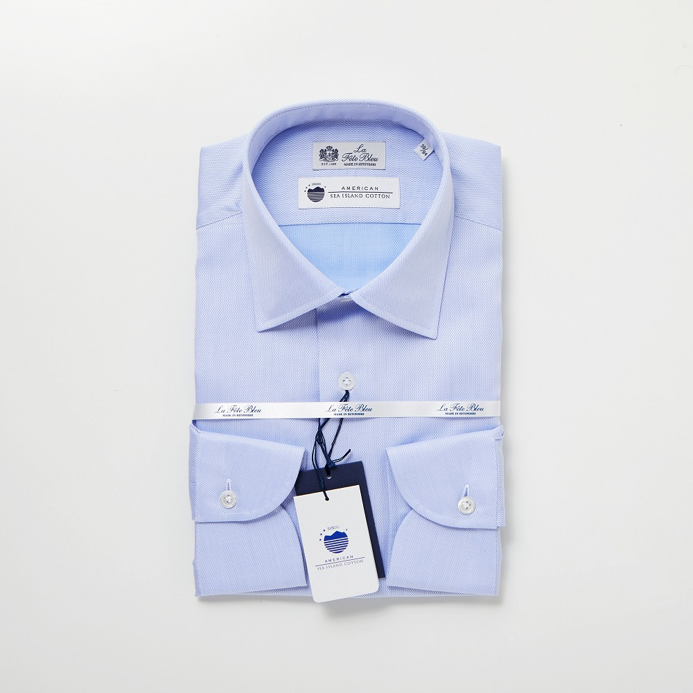 【ふるさと納税】【HITOYOSHIシャツ】アメリカン・シーアイランドコットンを使った青い変形オックスのセミワイド