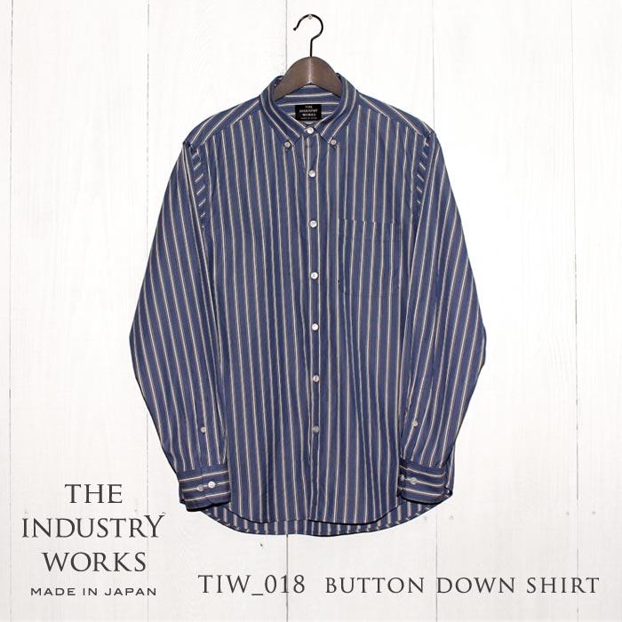 【ふるさと納税】播州織メンズシャツ「THE INDUSTRY WORKS」(ブルー×ホワイト×ネイビー)