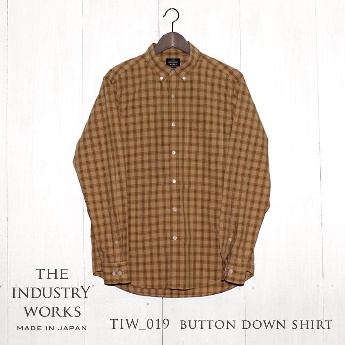 【ふるさと納税】播州織メンズシャツ「THE INDUSTRY WORKS」(ベージュ×ブラウン)