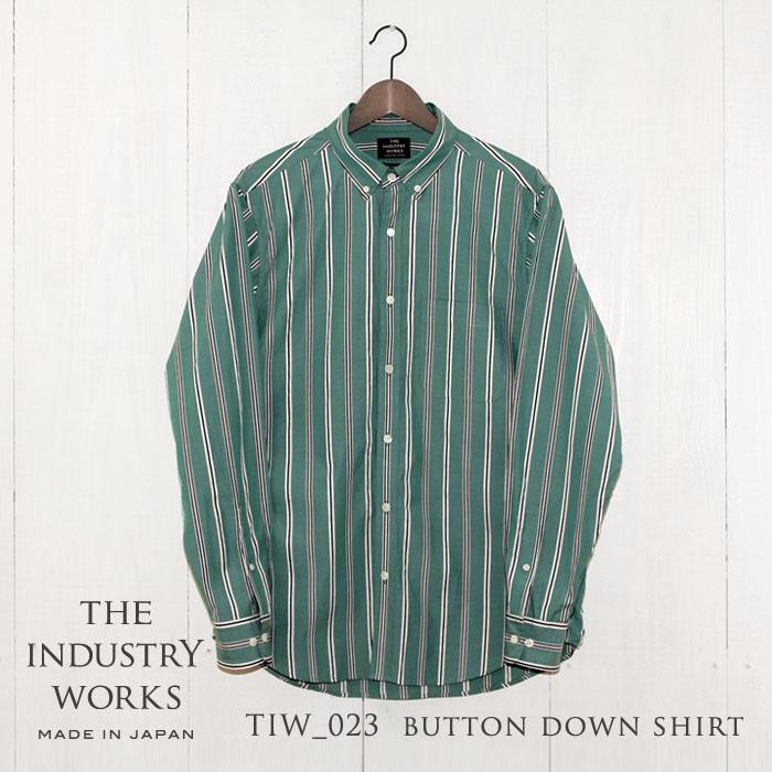 【ふるさと納税】播州織メンズシャツ「THE INDUSTRY WORKS」(グリーン×ブラック×ホワイト)