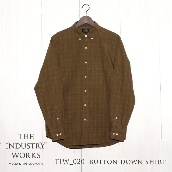 【ふるさと納税】播州織メンズシャツ「THE INDUSTRY WORKS」(ベージュ×ブラウン×イエロー)