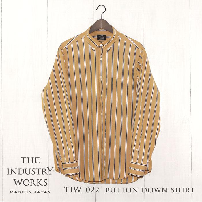 【ふるさと納税】播州織メンズシャツ「THE INDUSTRY WORKS」(イエロー×ネイビー×ホワイト)
