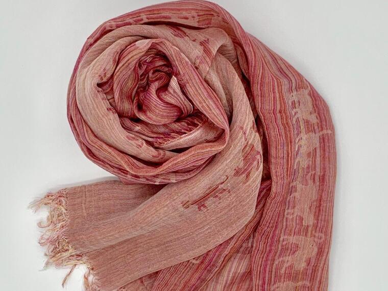 ねこ柄ピンク系ハーフストール約200cm×60cm ~織物職人×紋紙職人が作るストール~