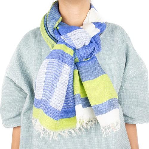【ふるさと納税】【播州織ダブルフェイスブロックコットンストール】BLUE.GREEN