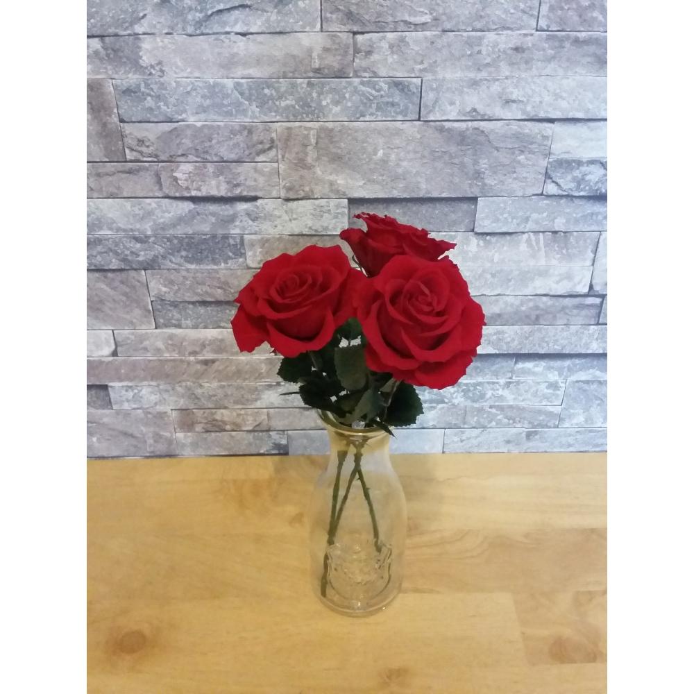 【ふるさと納税】プリザーブドフラワー 大きなバラの花束3本【プリザーブドフラワー】