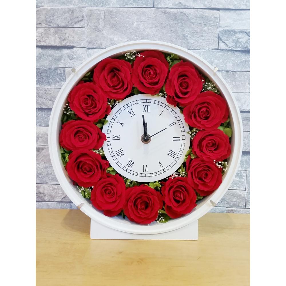 【ふるさと納税】プリザーブドフラワー 上質のバラの花時計【プリザーブドフラワー】