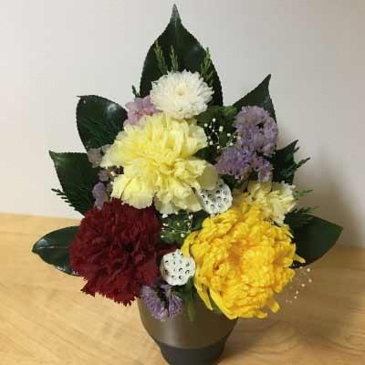 【ふるさと納税】プリザーブドフラワー 仏花一対(花器付き)【プリザーブドフラワー】