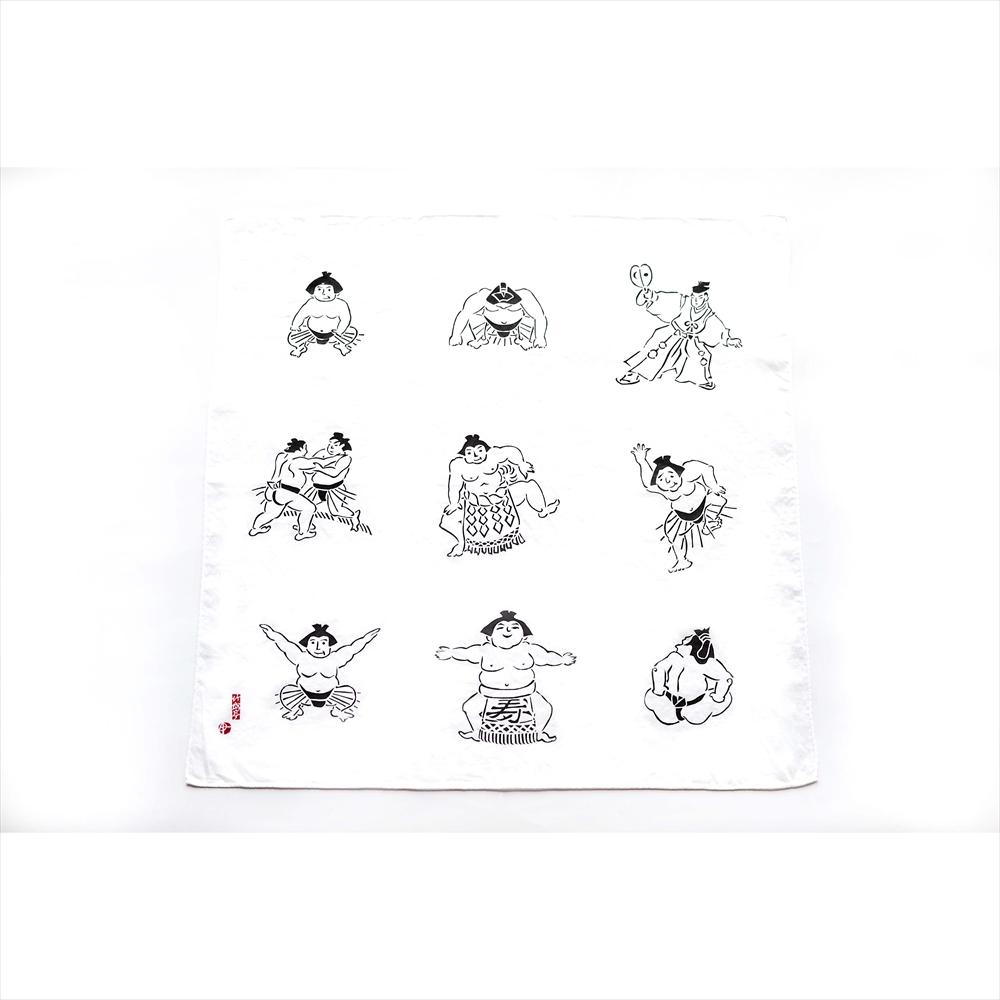 【ふるさと納税】竹岱亭 型絵染めオリジナルお相撲柄ハンカチ