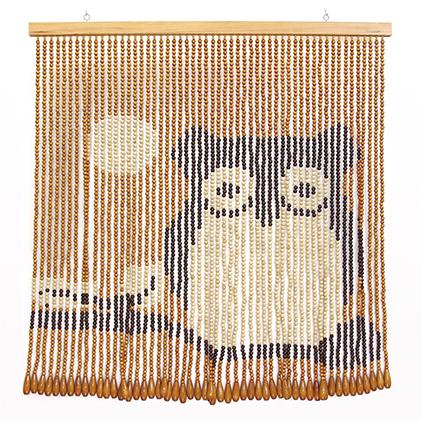 【ふるさと納税】伝統の珠のれん[フクロウ]HM-1ベージュ85×90cm 【インテリア】