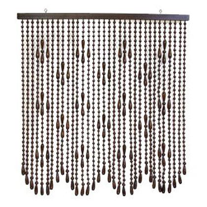 【ふるさと納税】木珠のれんFS-18 ブラウン 【雑貨・日用品・インテリア・暖簾・家具】