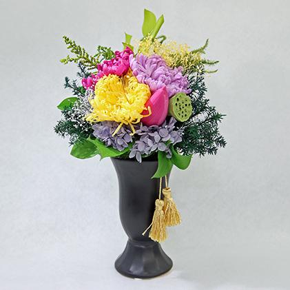 【ふるさと納税】仏花(最高級プリザーブドフラワー)器付 2個セット 【インテリア・植物】