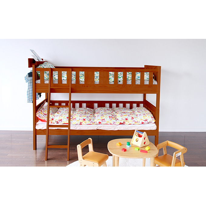 【ふるさと納税】E-Toko 2段ベッド ※ベッドラック付き(ブラウン) 【寝具・インテリア・ファッション】