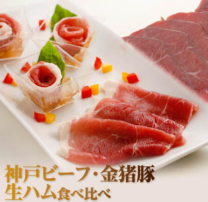 【ふるさと納税】神戸ビーフ・金猪豚 生ハム食べ比べ