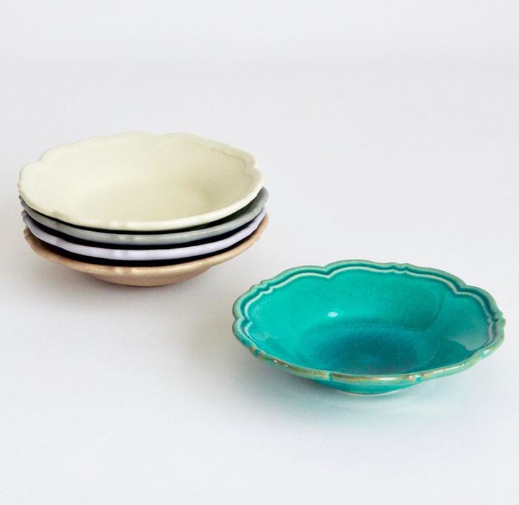 【ふるさと納税】【Awabi ware】輪花皿S 5枚セット