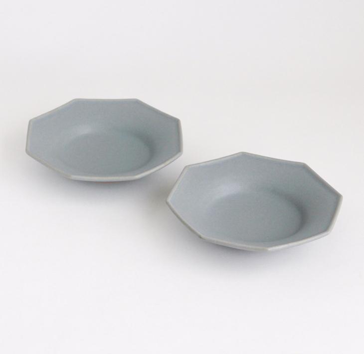 【ふるさと納税】【Awabi ware】八角中深皿 2枚セット (青マット)