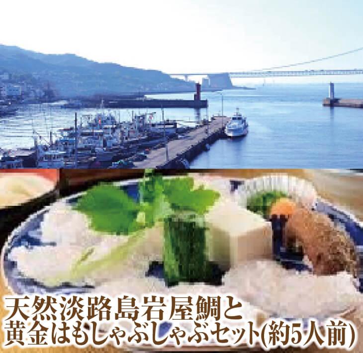 【ふるさと納税】天然淡路島岩屋鯛と黄金はもしゃぶしゃぶセット(約5人前)