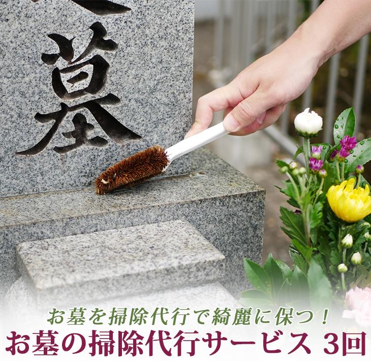【ふるさと納税】お墓の掃除代行サービス (淡路島内3回)
