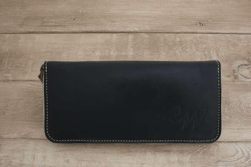 【ふるさと納税】WH-02-2 本革ラウンドファスナー財布(ブラック)