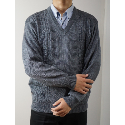 模様有 メンズニット セーターをお届けします おトク 奉呈 ふるさと納税 セーター LL寸 1219733 グレー 15140