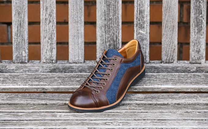 ふるさと納税 倭イズム 牛革×デニム紳士靴 YA3310 ダークブラウンファッション・靴・シューズmny8N0vwO