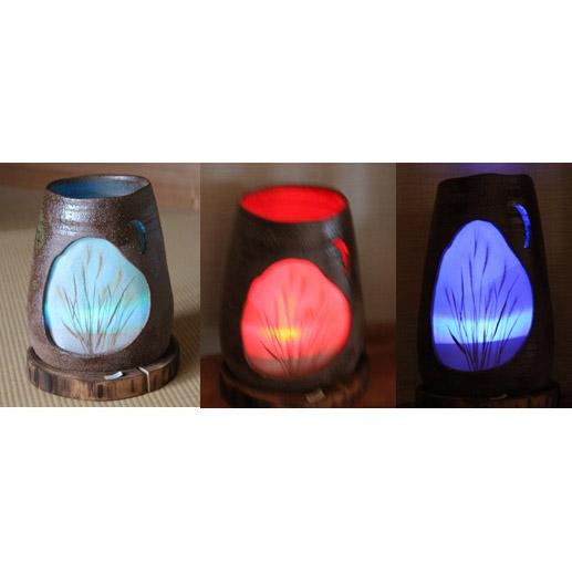 【ふるさと納税】ススキのランプシェード(LEDで3色に変化し押し花と和紙で制作)LEDランプ付 ※茶色または白を選択してください