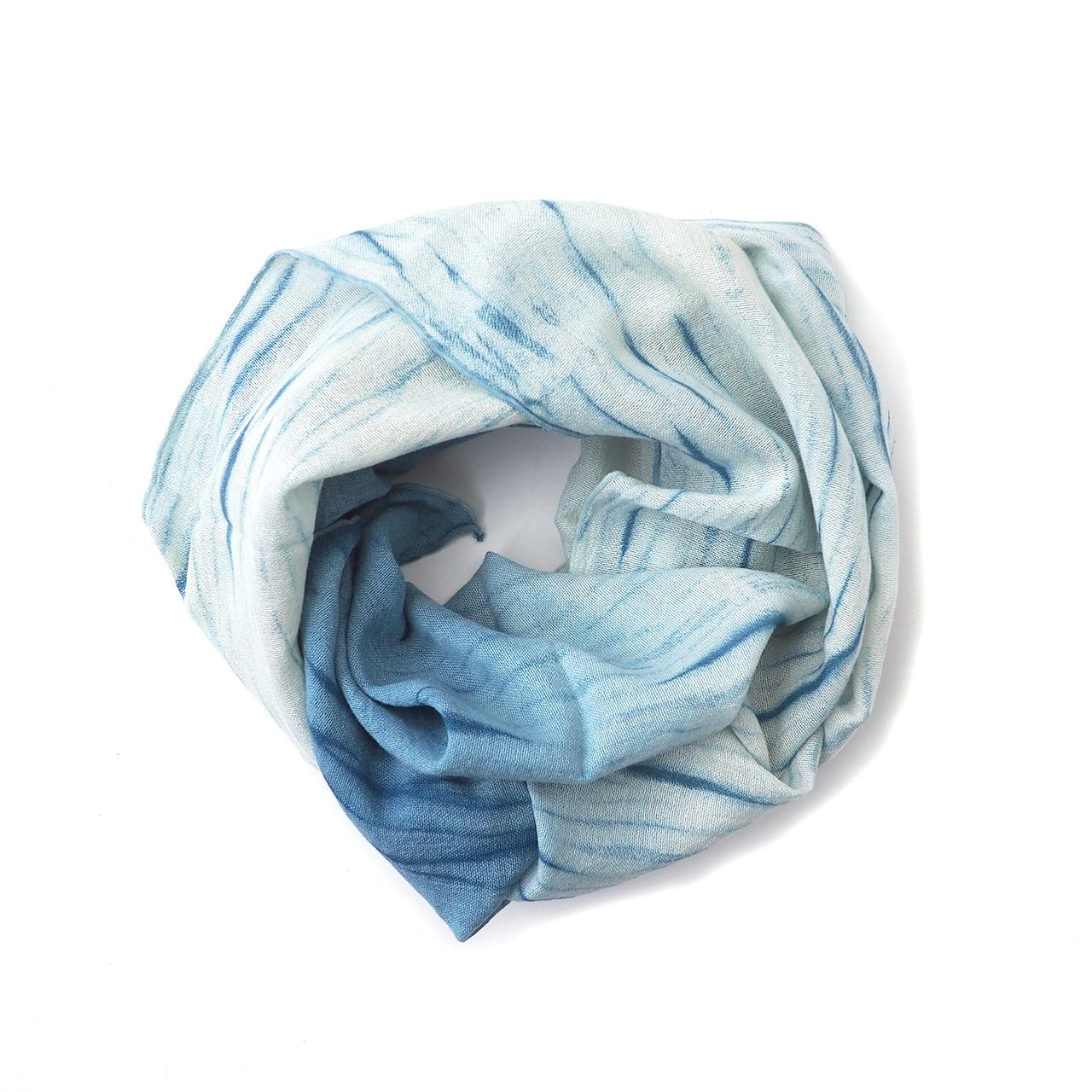 【ふるさと納税】027ai amu 天然藍染スカーフ/さざなみ