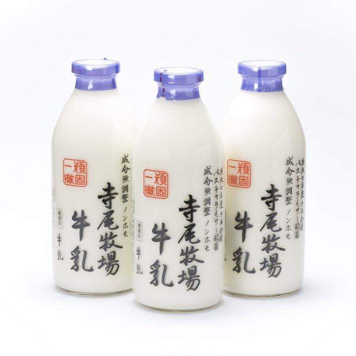 ふるさと納税 寺尾牧場のこだわり濃厚牛乳 ノンホモ牛乳 3本セット 贈与 在庫一掃 900ml×3本