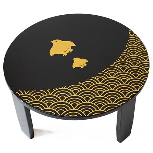 【ふるさと納税】和風カフェテーブル(小)波千鳥-黒
