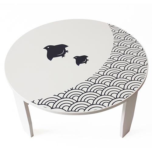 【ふるさと納税】和風カフェテーブル(大)波千鳥-白