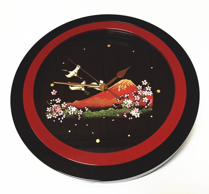 【ふるさと納税】紀州漆器 掛け時計 蒔絵 一富士二鶴三桜