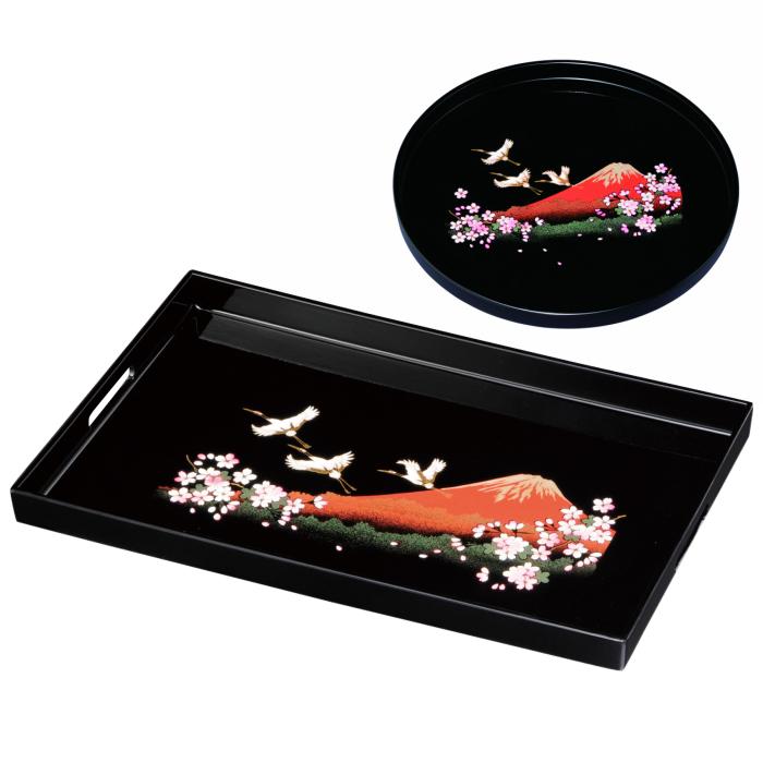【おしゃれ】 【ふるさと納税】長手盆・丸盆 2枚セット 富士に桜(木製・カシュー塗り), あるモール 7fea3e61