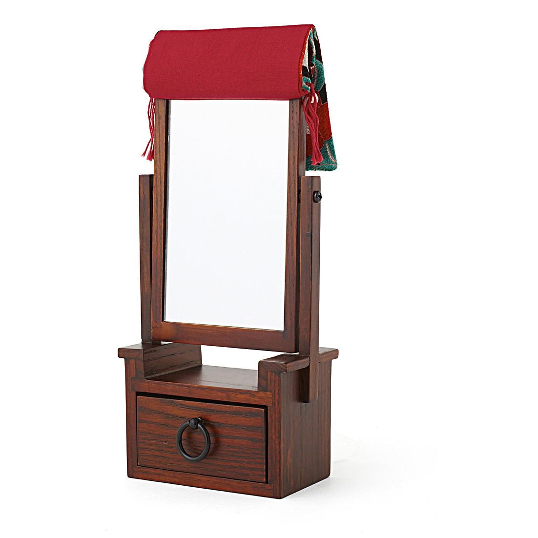 ミニサイズだけど 手鏡代わりに使えて実用的 ふるさと納税 木製 安全 さくらの舞 姫鏡台 赤 買物